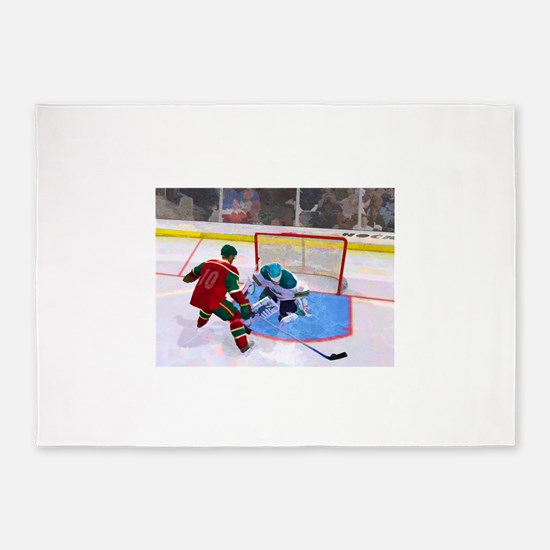 At the Net in Hockey 5'x7'Area Rug