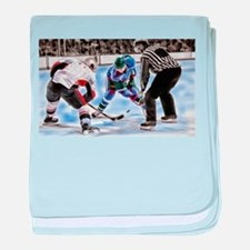 Hocky Players and Referee at Center I baby blanket