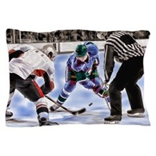 Hocky Players and Referee at Center Ic Pillow Case