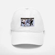 Hocky Players and Referee at Center Ice Baseball Baseball Cap