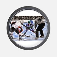 Hocky Players and Referee at Center Ice Wall Clock