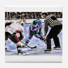 Hocky Players and Referee at Center I Tile Coaster
