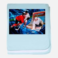 Action at the Hockey Net baby blanket
