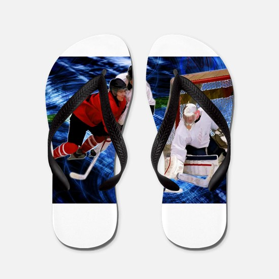 Action at the Hockey Net Flip Flops