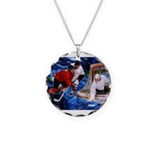 Action at the Hockey Net Necklace