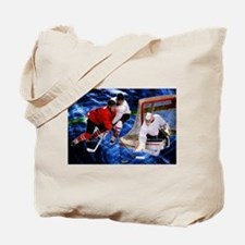 Action at the Hockey Net Tote Bag