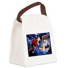 Action at the Hockey Net Canvas Lunch Bag