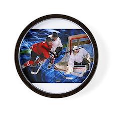 Action at the Hockey Net Wall Clock
