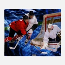 Action at the Hockey Net Throw Blanket