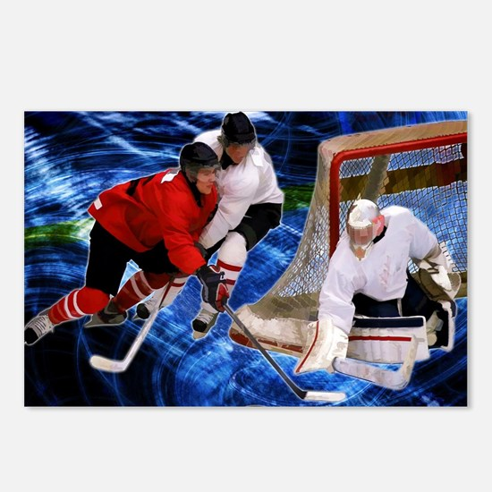 Action at the Hockey Net Postcards (Package of 8)
