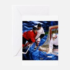 Action at the Hockey Net Greeting Cards