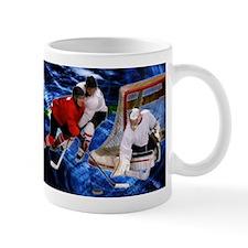 Action at the Hockey Net Mugs