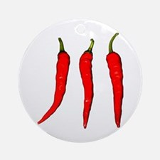 3 Cayenne Peppers Round Ornament