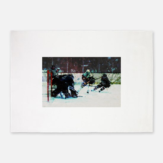 Grunge Hockey Match 5'x7'Area Rug