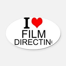 I Love Film Directing Oval Car Magnet