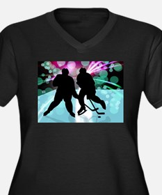 Hockey Duo Face Off Plus Size T-Shirt