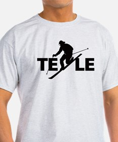 Cute Ski skiing telemark tele snow winter sport T-Shirt