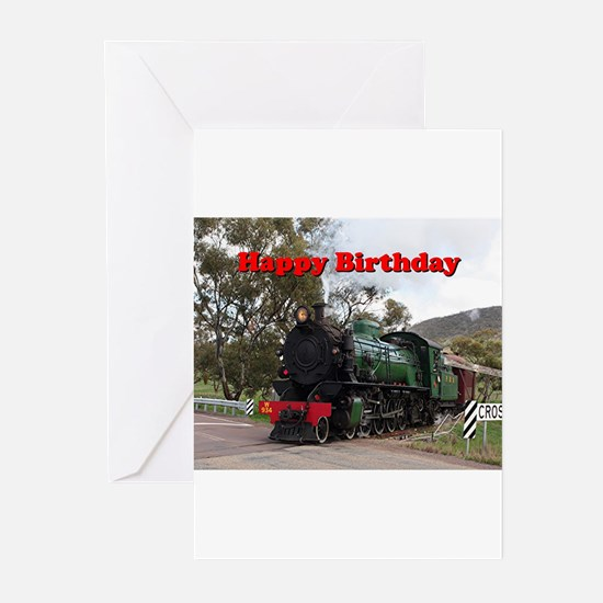 Happy Birthday: steam train engine Greeting Cards