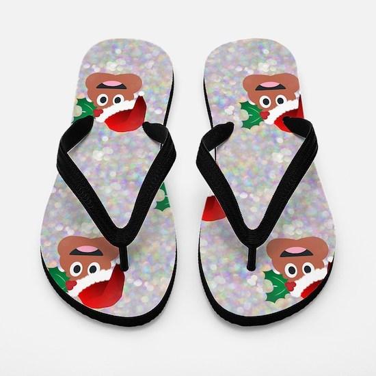santa christmas poop emoji Flip Flops