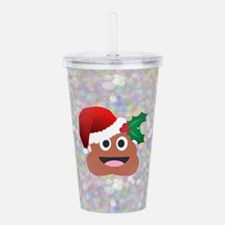 santa christmas poop e Acrylic Double-wall Tumbler