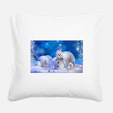 snowman Square Canvas Pillow