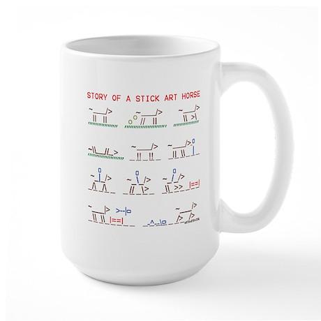 Wild horse stick art story. Large Mug
