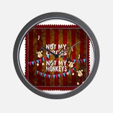 Not My Circus Monkeys Stamp Wall Clock