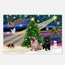 X Mas Magic & Pug Pair Postcards (Package of 8)
