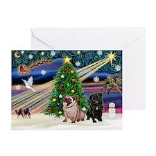 X Mas Magic & Pug Pair Greeting Cards (Pk of 10)