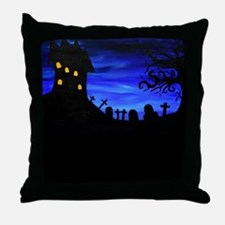 Haunted House Painting Throw Pillow