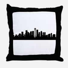 Seattle Cityscape Skyline Throw Pillow