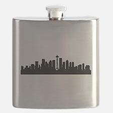 Seattle Cityscape Skyline Flask