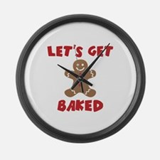 Let's Get Baked Funny Christmas Large Wall Clock