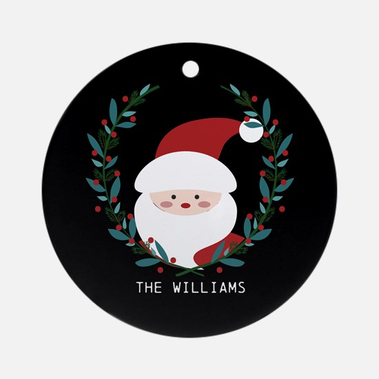 Custom Christmas Family Name Santa Round Ornament