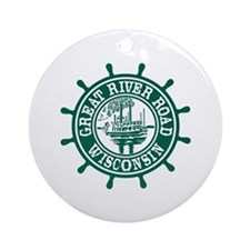 Great River Road Wisconsin Round Ornament