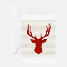 Red Deer on Type Greeting Cards