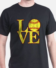 Love Softball Distressed T-Shirt