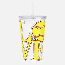 Love Softball Distress Acrylic Double-wall Tumbler