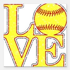 "Love Softball Distressed Square Car Magnet 3"" x 3"""