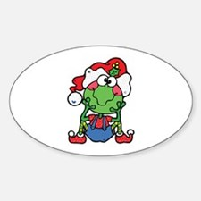 Silly Christmas Froggy Oval Decal