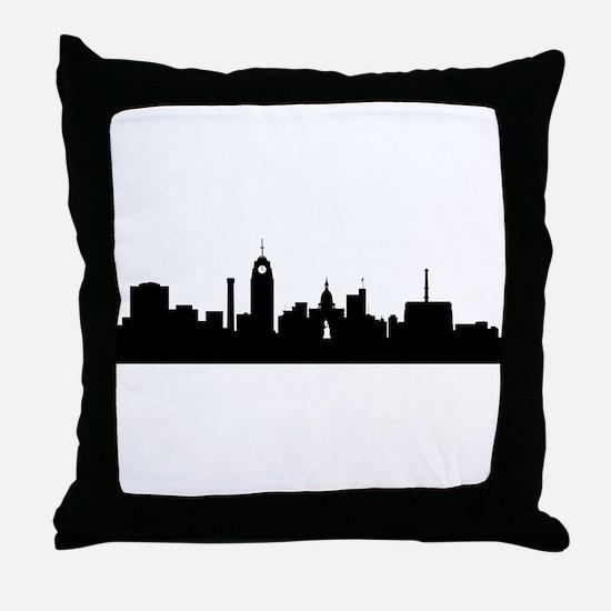 Lansing Cityscape Skyline Throw Pillow