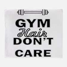 Gym Hair Don't Care Throw Blanket