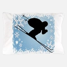 SKI DOWNHILL (blue) Pillow Case