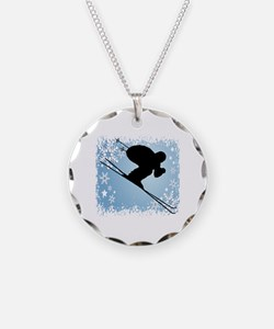 SKI DOWNHILL (blue) Necklace