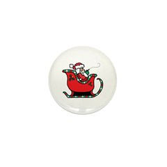 Santa Clause in Sleigh Mini Button (10 pack)