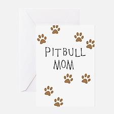 Pitbull Mom Greeting Cards