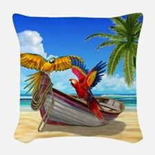Parrots of the Caribbean Woven Throw Pillow