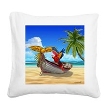 Parrots of the Caribbean Square Canvas Pillow