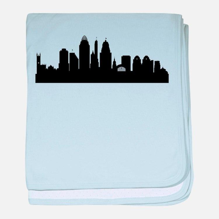 Cincinnati Cityscape Skyline baby blanket