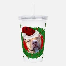 Christmas Pitbull Dog Acrylic Double-wall Tumbler